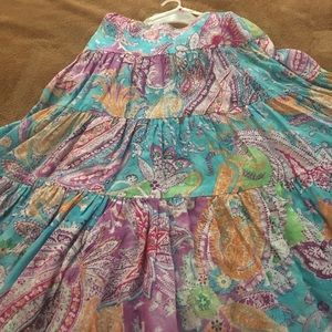 "Ralph Lauren Cotton skirt/ multi color, SZ M/ 30""L"